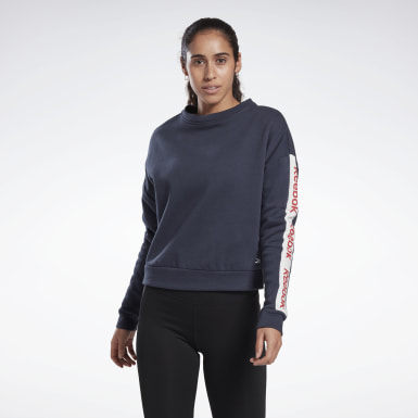 Women Fitness & Training Blue Linear Logo Crew Sweatshirt