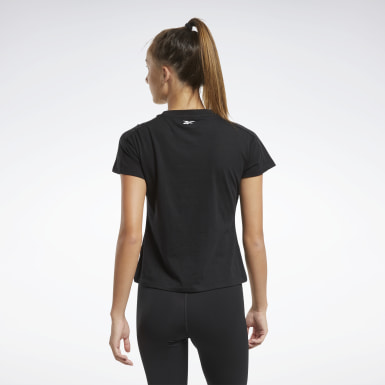 Women Fitness & Training Black Training Essentials Linear Logo Detail Tee