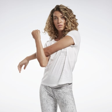 T-shirt Restorative Studio Graphic Bianco Donna Yoga