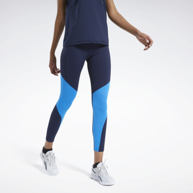Women Cycling Blue Reebok Lux Bold Mesh 2 Leggings