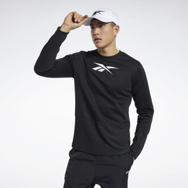 Men Fitness & Training Black Crew Sweatshirt