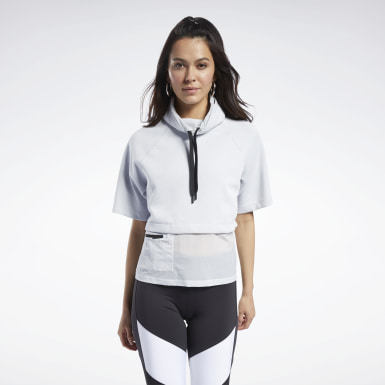 Women Fitness & Training White Cowl Neck Sweatshirt