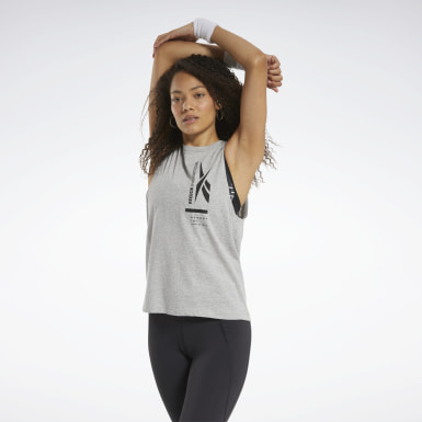 Women Hiking Grey Graphic Tank Top