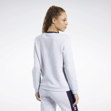Women Classics Grey Classics Linear Fleece Crew Sweatshirt