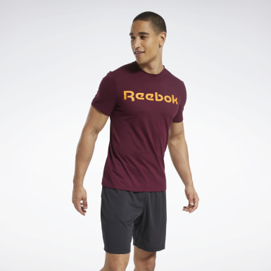 Mænd Fitness & Training Burgundy Graphic Series Linear Logo Tee