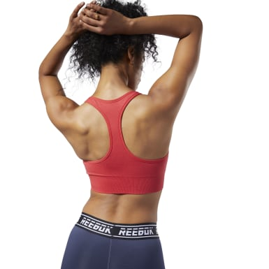 Women Fitness & Training Red WOR Meet You There Seamless Padded Bra
