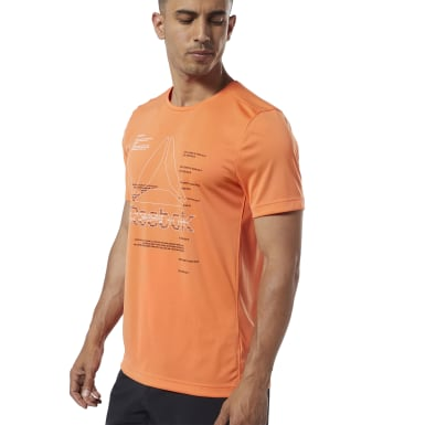 Men Training Orange Workout Ready Graphic Tee