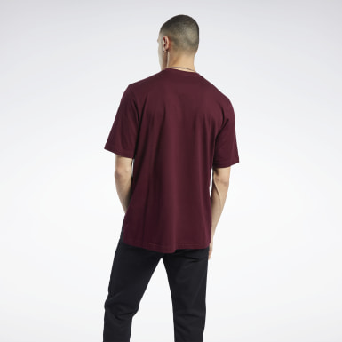 Men Classics Burgundy Classics Linear T-Shirt