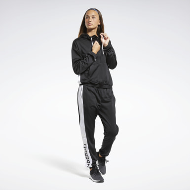 Kvinder Fitness & Training Black Linear Logo Hoodie Track Suit