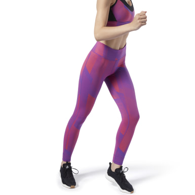Women Yoga Purple Reebok Lux Tights 2.0