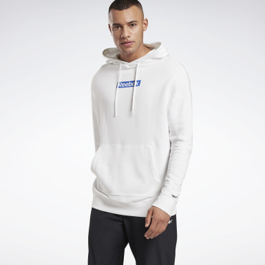 Sweat à capuche avec logo linéaire Training Essentials Blanc Hommes Fitness & Training
