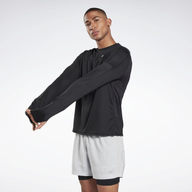 Heren Wandelsport Zwart Running Essentials Shirt met Lange Mouwen
