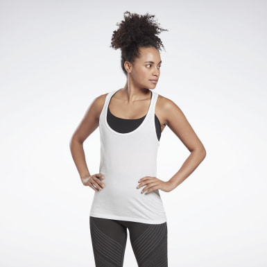 Women Fitness & Training White GB Cotton Racer Vector Tank Top