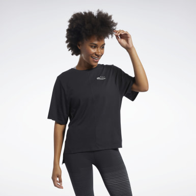 Women Fitness & Training Black QUIK Cotton Graphic Tee