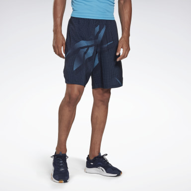 Men Fitness & Training Blue Workout Ready Allover Print Shorts