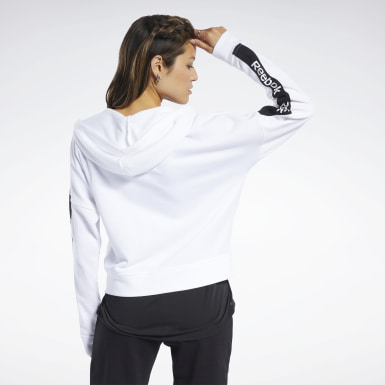 Women Fitness & Training White Training Essentials Linear Logo Hoodie