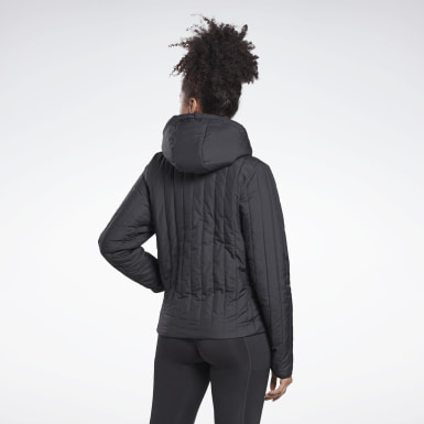 Women Training Black Outerwear Core Padded Jacket