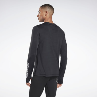 Men Running Black Run ACTIVCHILL Long Sleeve Graphic Tee