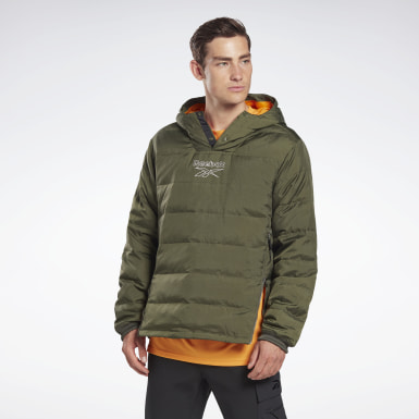 Men Hiking Green Outerwear Light Down Retro Jacket