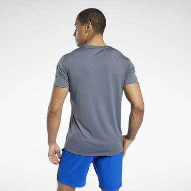 Men Hiking Grey Workout Ready Polyester Tech Tee