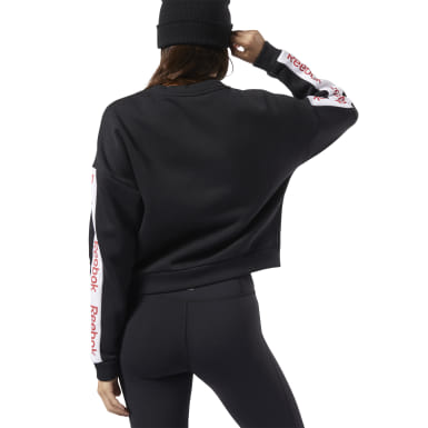 Women Training Black Training Essentials Logo Crew Sweatshirt