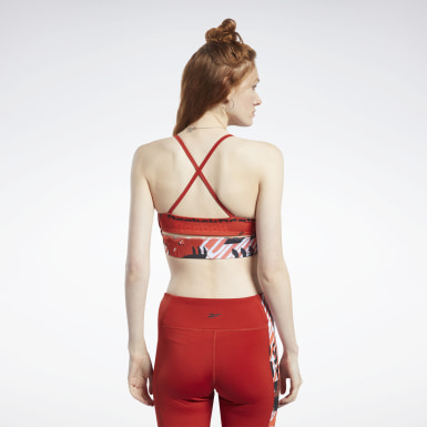 Women Pilates Red Meet You There Low-Impact Bra