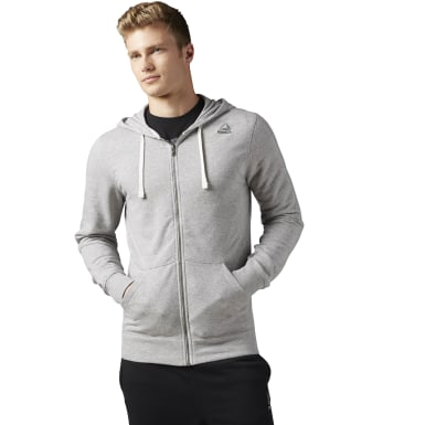 French Terry Full-Zip Hoodie Gris Hombre Fitness & Training