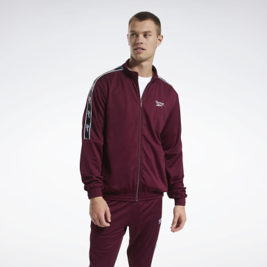 Men Classics Burgundy Classics Vector Tape Track Jacket