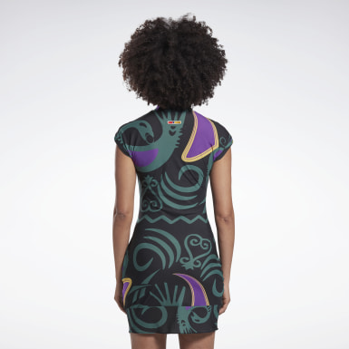 Dam Classics Svart Reebok by Pyer Moss Mesh Allover Print Sankofa Dress