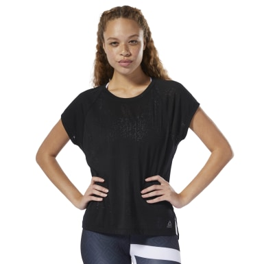T-shirt semi-transparent Noir Femmes Fitness & Training