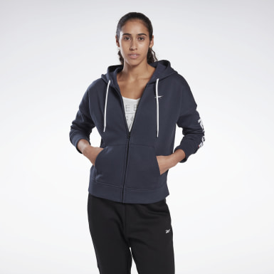Felpa Linear Logo Blu Donna Fitness & Training