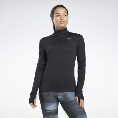 Women Hiking Black Running Essentials Quarter-Zip Top