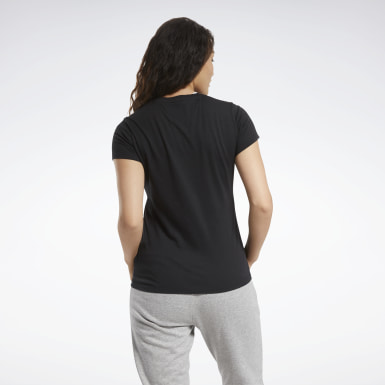 Women Cross Training Black Training Essentials Stacked Logo Tee