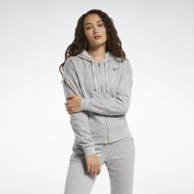 Women Cross Training Grey Training Essentials Full-Zip Hoodie