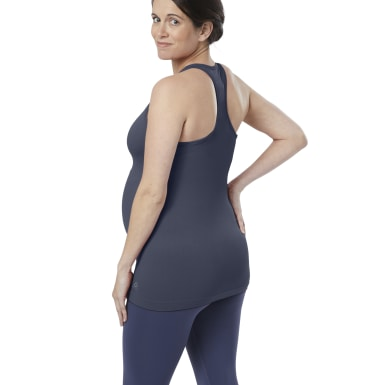 Women Yoga Blue Seamless Maternity Tank Top