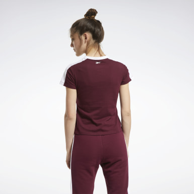 Women Fitness & Training Burgundy Training Essentials Linear Logo Detail Tee
