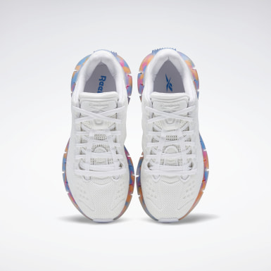 Girls Running White Zig Kinetica Shoes - Grade School
