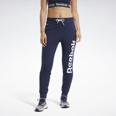 Women Fitness & Training Blue Training Essentials Linear Logo Pants