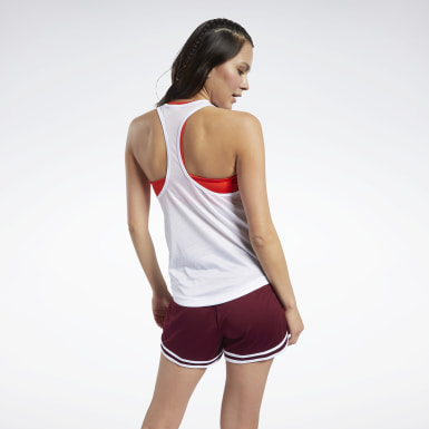 Women Fitness & Training White Mesh Back Tank Top