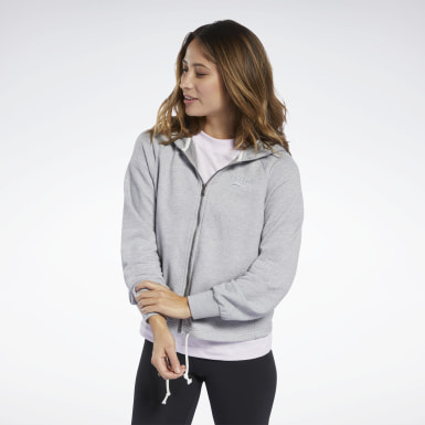 Women Fitness & Training Grey Training Essentials Logo Hoodie