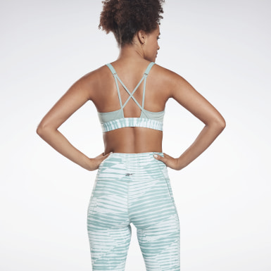 Women Studio Green Reebok Hero Medium-Impact Strappy Bra