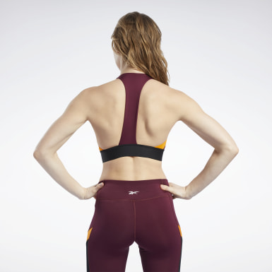 Women Cycling Burgundy Workout Ready Low-Impact Bralette