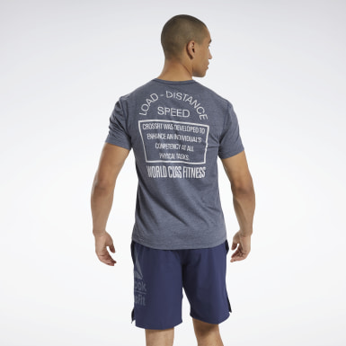 Men Cross Training Blue Reebok CrossFit® Burnout T-Shirt