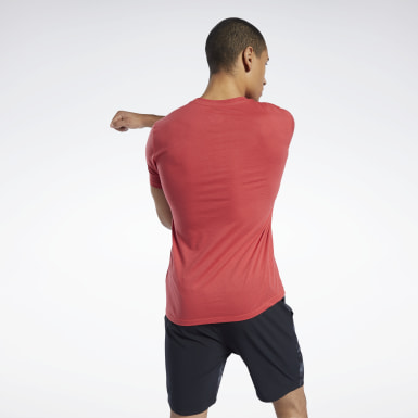 Men Yoga Red Workout Ready Jersey Tech Tee