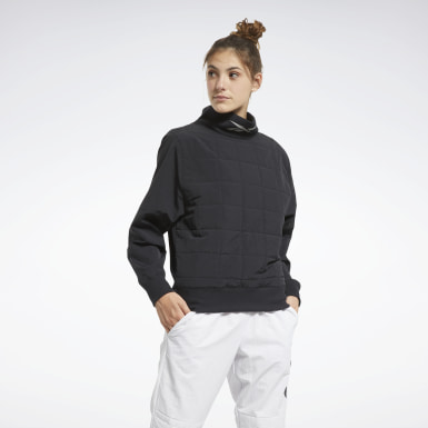 Frauen Outdoor MYT Cowl-Neck Sweatshirt Schwarz