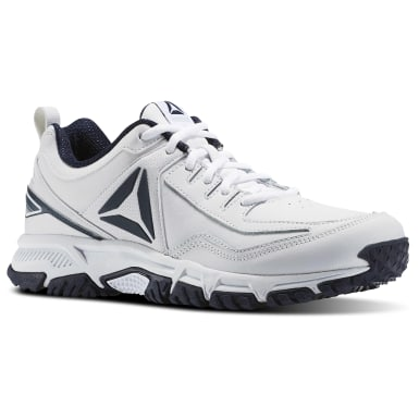 Men Walking White Ridgerider Leather Men's Hiking Shoes