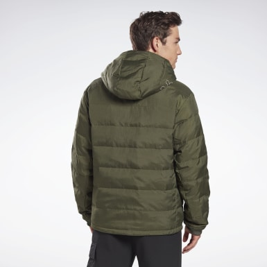 Men Montanhismo Green Outerwear Light Down Retro Jacket