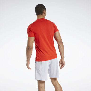 Men Cross Training Red Reebok Running T-Shirt