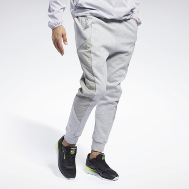 Men Fitness & Training Grey Knit-Woven Jogger Pant