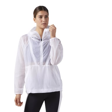 Women Lifestyle White Woven Anorak Jacket